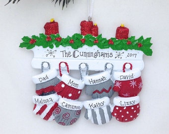 8 Family Mittens Ornament / Personalized Christmas Ornament / Family of Eight Mittens on Mantel / Grandchildren