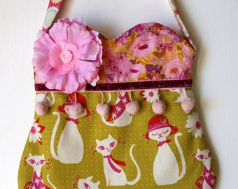 Sassy Kitty Purse, girls purse, toddler purse, spring purse, girlie purse
