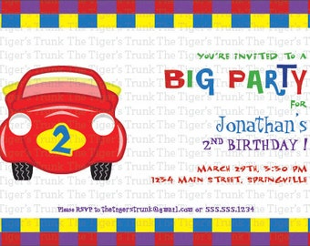 Red Car, Big Party, Children's Birthday Party Digital Printable Invitations