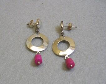 Vintage Sterling Silver Scandanavian Design Dangly Pierced Earrings