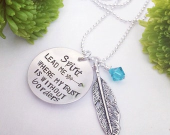 Spirit lead me necklace, Hand stamped necklace, feather charm, bible