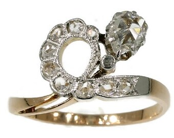 Pear diamond ring 18k rose gold pear shaped rose cut diamonds Victorian antique ring