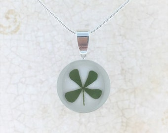 """Real Dried Four Leaf Clover Silver Plated Round Necklace, 18"""" Chain"""