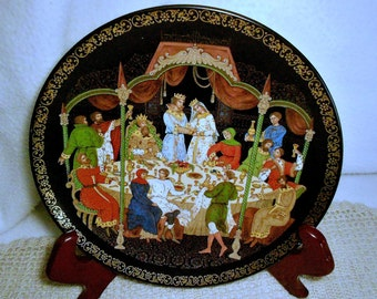 "Russia ""Firebird"" Collection Plate ""THE WEDDING FEAST"" 1990"