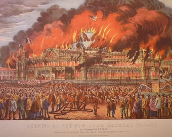 Burning of the New York Crystal Palace - Currier and Ives -  Fine Art Print -