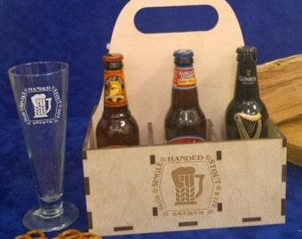 Personalized 6 Pack Beer Bottle Carton/Carrier Box-Engraved Beer Carrier-Wood beer carrier-wooden beer case-beer glass carrier-Homebrew beer