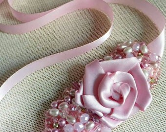 Embroidered glass and textile flower headband