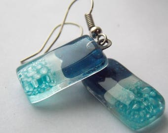 Small Blue and turquoise Recycled Glass Dangle Earrings