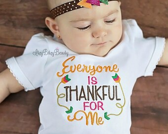 Girls my first thanksgiving embroidered shirt arrow headband everyone is thankful for me fall