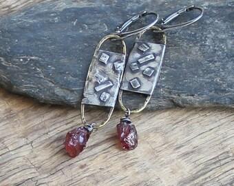 Sterling silver raw garnet earrings mixed metal earrings metalwork earrings raw sterling silver artisan jewelry bohemian rought earrings