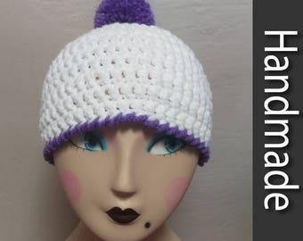 White & Purple Pom Pom Beanie Hat