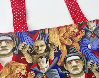 Horror Movie Monsters Tote Bag: Dracula, Frankenstein, The Mummy.