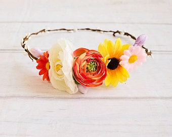 Flower Crown, Sunflower crown, Boho Headband, Flower Girl Halo Headband, Baby Headband, Rustic Wedding Headband, Flower girl headband