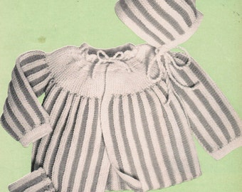 Knitted Ribbed Baby Outfit PDF Pattern / 2 piece infant pattern / vintage Infant striped bonnet and sweater pattern / PDF pattern