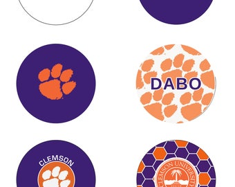Clemson Buttons - 6 Pack - OR ANY Custom Clemson Design