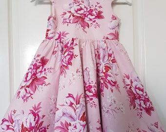 Size 3 dress, toddler dress, pink floral dress, tea party dress, girls summer dress, size 3 dress, girls clothing, pink dress