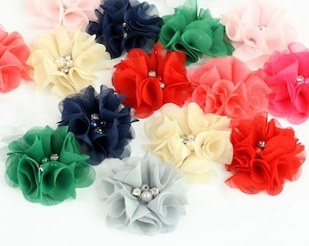 "Small Flower, Flutter Impatiens, Chiffon Folded Petal Flower 2.5"" - 9 Colors, Sewn Rhinestone Pearl Center, DIY Headband, Hair Clip, Bridal"