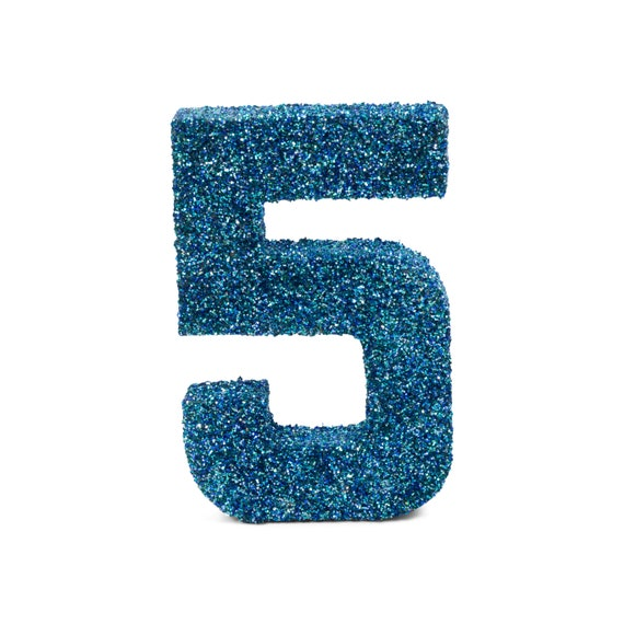 """8"""" Glitter Number 5, Paper Mache Number 5, Giant Blue Number, Centerpiece Number Five, Table Letters, Large Decorative Blue Number Birthday"""
