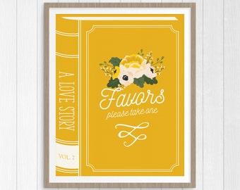 favors sign wedding printable, favors wedding sign, printable wedding sign, fairytale wedding, wedding decor, book wedding, digital print