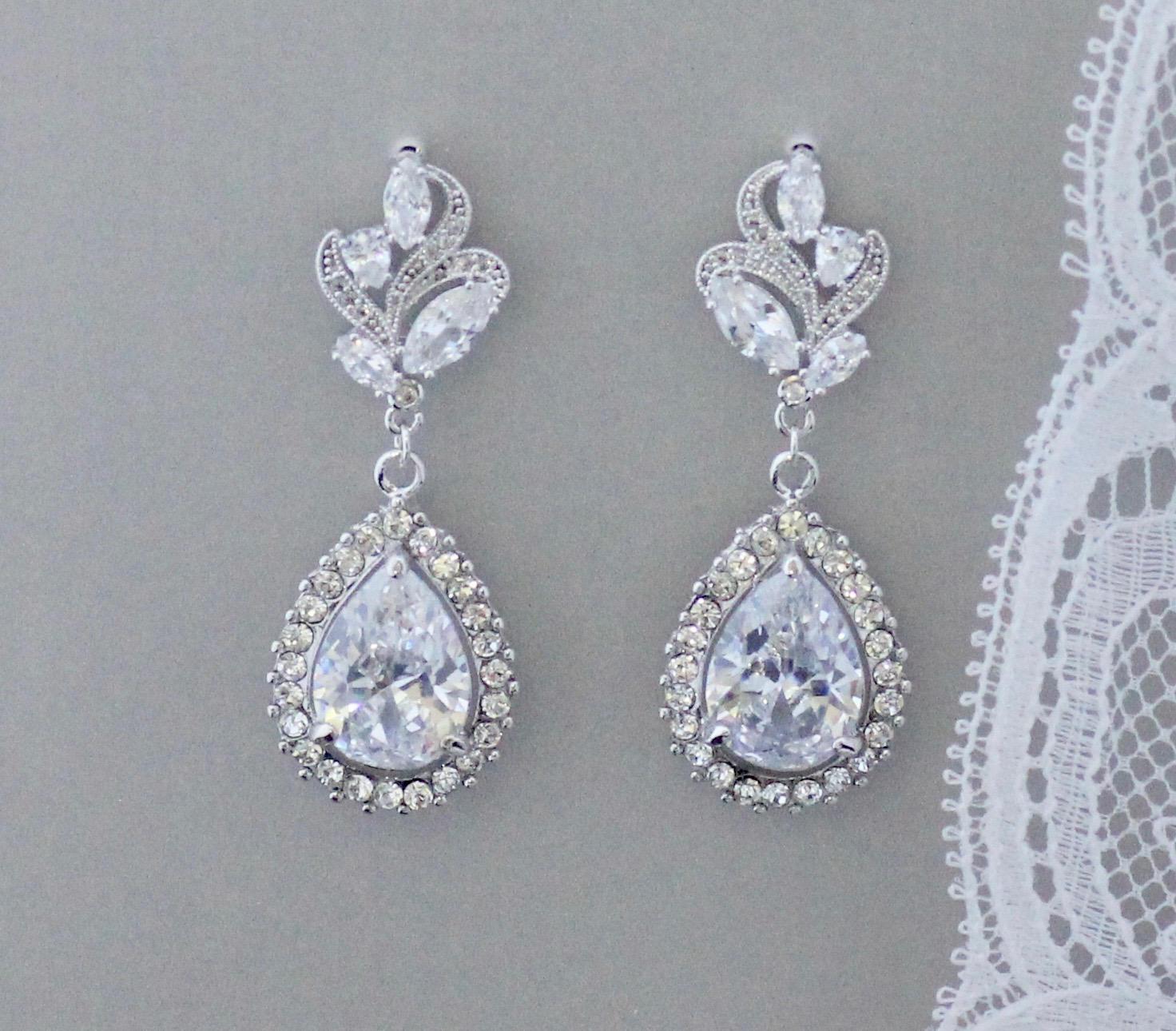 Bridal Crystal Chandelier Earrings Crystal Leaf Earrings