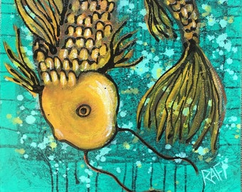 Koi Fish Wall Art by Artist Rafi Perez Mixed Medium on Canvas 16X20 - Good Luck Koi - Golden Fish