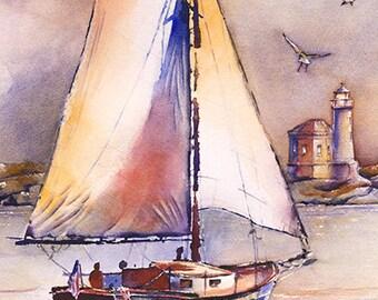 Sailing Past Bandon Light - Watercolor Painting Print by Michael David Sorensen. Lighthouse Art. Bandon Lighthouse. Sailboat Artwork.