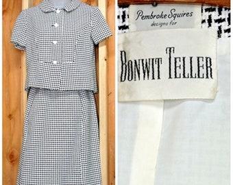 1960s Bonwit Teller houndstooth dress / suit / XXS size 2 / 3/  vintage 60s black white 2 piece skirt suit / career suit