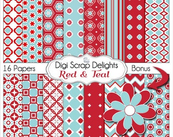Red & Teal / Aqua Digital Papers, Backgrounds for Digital Scrapbooking, Card Making, Phone Covers, Web Design, Instant Download