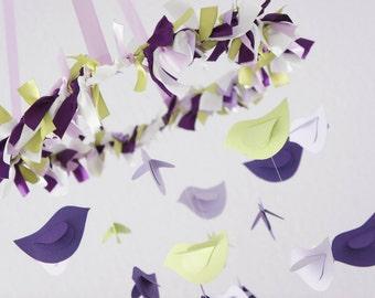 Lavender Girl Nursery Mobile- Baby Girl Bird Nursery Mobile Room Decor in Lavender, Purple, Green