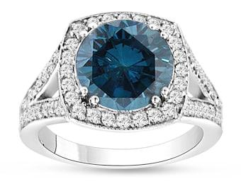 3.83 Carat Blue Diamond Engagement Ring, Halo Bridal Ring, Pave Wedding Ring, 14K White Gold Certified Handmade Unique