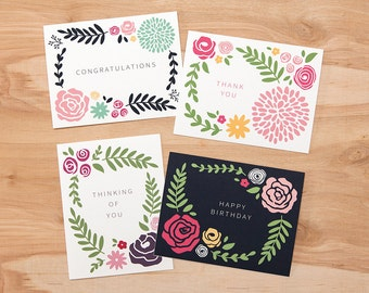 "Set of 8 – Simple Floral Greeting Cards – 4.25"" x 5.5"" – Congratulations, Thank you, Thinking of You, and Happy Birthday"