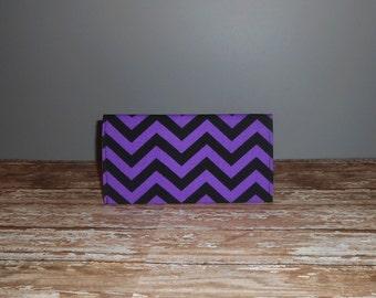 Checkbook Cover - Purple / Black Chevron