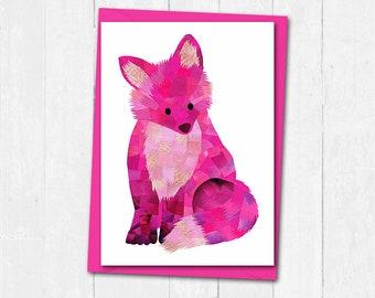 Fox card, Custom colours, Fox greeting card, Blank card, Fox birthday card, Fox print card, Collage print, Cute animal card, Cute fox card