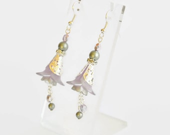 Mauve green silver hand dyed lucite flower Swarovski crystal and pearl earrings, vintage style earrings, flower earrings, handmade earrings
