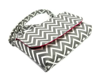 Small Gray Chevron Purse, Mini Messenger Bag, Chevron Pocketbook, Gray and Pink Crossbody Bag - Gray Chevron Bag, Long Adjustable Strap