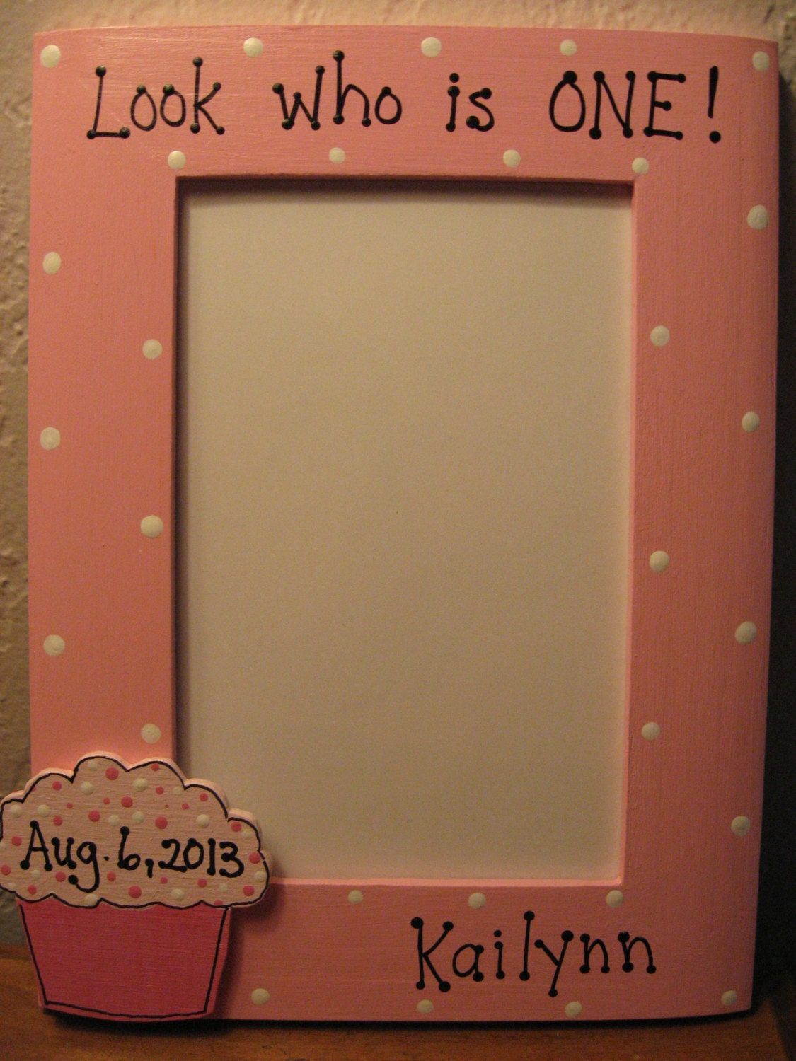 Personalized Baby\'s First Birthday Frame, Happy Birthday, Girl Pink ...
