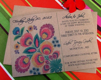 Bohemian Colorful Wedding Invitation | Fabulous Folk, Mexican, Peruvian Textile Inspired Bright and Beautiful