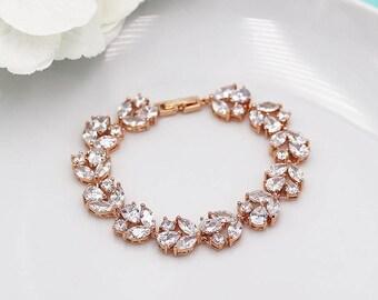 Bridal Bracelet Rose Gold, cz wedding bracelet, rose gold cubic zirconia bracelet, bridal jewelry, Angelique Rose Gold Bracelet