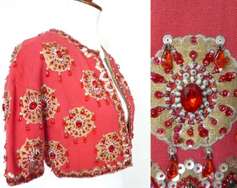 Vintage 60s Dazzlingly Embellished Beaded Bolero by Sydna Wynn