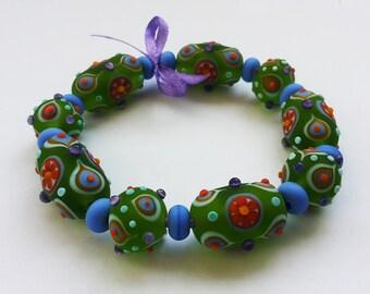 Lampwork Bead Set; Green, Purple, Orange Glass Beads.