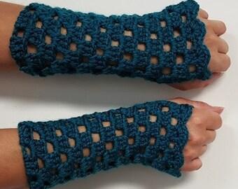 Fingerless Gloves, Women's Wrist Warmers, Crochet Mittens, Arm Warmers, Winter Gloves Teal