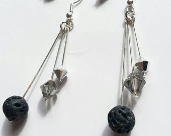 Diffuser Jewelry / Mirrored Swarovski Crystal and Black Lava Rock / Aromatherapy Jewelry / Drop and Dangle Earrings / Relaxation