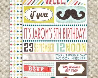 """Mustache Birthday Party Invitations """"Well If You Mustache..."""" Boy Birthday Party Invitations Digital diy Printable Personalized - 105232472"""