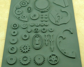 OUTTIE  Lisa Pavelka Rubber  Steampunk Watch and Gear Texture Impression Stamp