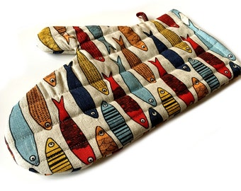 """Diner oven gloves, baking glove, potholders, cooking-mitts """"Sardine"""" (12"""" x 5,5""""/8,6"""") linen/cotton, Mother's Day, gift"""