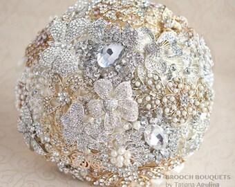 Crystal Brooch bouquet. Gold and Silver wedding brooch bouquet, Jeweled Bouquet. Quinceanera keepsake bouquet