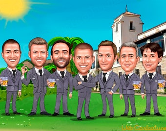 Groomsmen Caricature Gift Ideas, Personalized Groomsmen Gift, groomsmen caricature portraits, Wedding caricature, Wedding Party Gifts