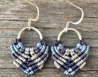 Micro-Macrame Dangle Earrings. Modern Macrame. Knotted Macrame Earrings. Boutique Fashion. Knotted Beaded Earrings. Blue Mixed Earrings.