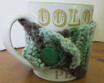 Mug Cozy Insulated Brown and Green Coffee or Tea Cup Cover Handmade Crochet Adjustable Button Hot or Cold Drinkware Cozi