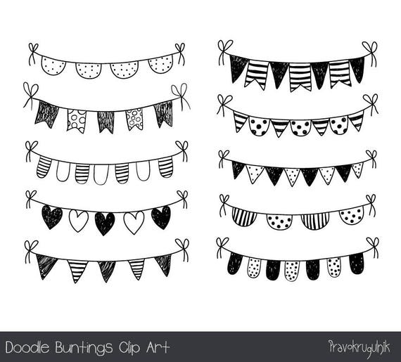 Hand drawn doodle bunting clipart Black and white flag clip